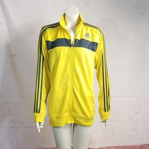 ADIDAS YELLOW NEON WITH NAVY BLUE STRIPES JACKET M